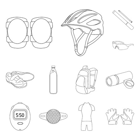 Bicycle outfit outline icons in set collection for design. Bicycle and tool vector symbol stock web illustration.