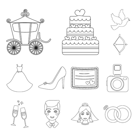 Wedding and Attributes outline icons in set collection for design.Newlyweds and Accessories vector symbol stock web illustration.  イラスト・ベクター素材