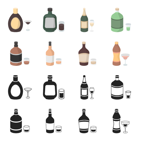 Whiskey, liquor, rum, vermouth.Alcohol set collection icons in black,cartoon style vector symbol stock illustration web.
