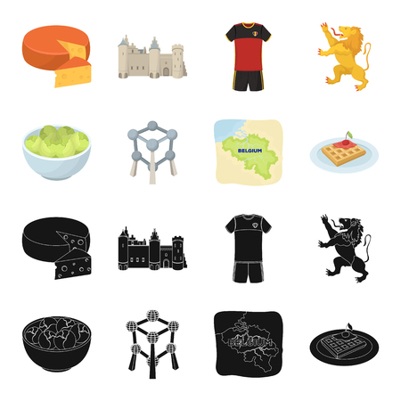 Territory on the map, brussels sprouts and other symbols of the country.Belgium set collection icons in black,cartoon style vector symbol stock illustration web.