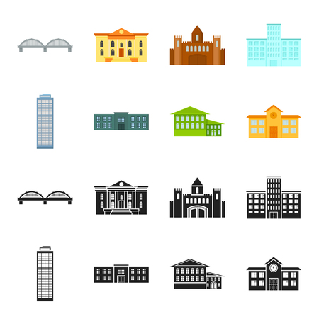 Skyscraper, police, hotel, school.Building set collection icons in black,cartoon style vector symbol stock illustration web. Illustration