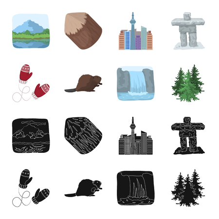 Canadian fir, beaver and other symbols of Canada.Canada set collection icons in black,cartoon style vector symbol stock illustration web. Ilustração