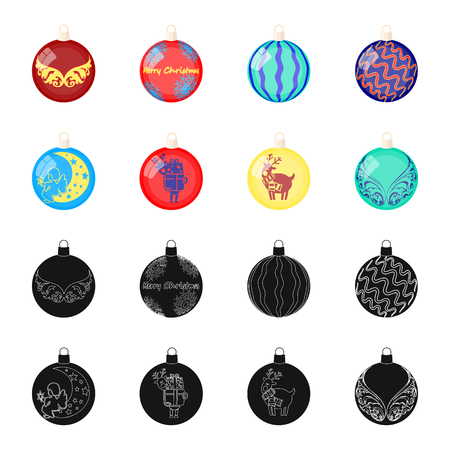 New Years Toys black,cartoon icons in set collection for design.Christmas balls for a treevector symbol stock web illustration. Illustration