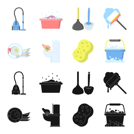 Cleaning and maid black,cartoon icons in set collection for design. Equipment for cleaning vector symbol stock web illustration. Illustration