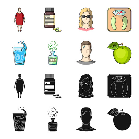 A glass of water, a bottle of alcohol, a sweating man, an apple. Diabeth set collection icons in black,cartoon style vector symbol stock illustration web.