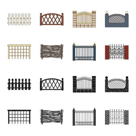 A fence of metal and bricks,wooden palisade. A different fence set collection icons in black,cartoon style vector symbol stock illustration web.