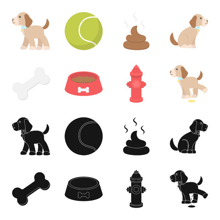 A bone, a fire hydrant, a bowl of food, a pissing dog.Dog set collection icons in black,cartoon style vector symbol stock illustration web.