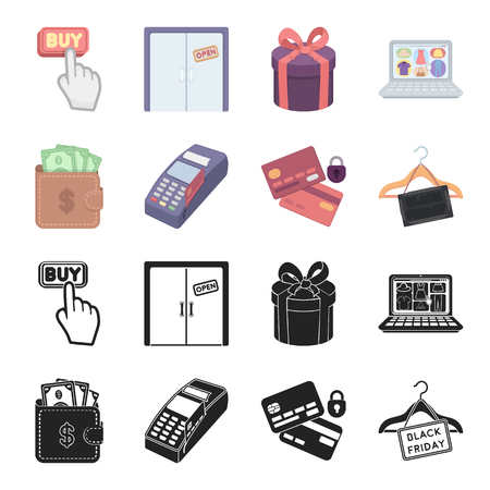Purse, money, touch, hanger and other equipment. E commerce set collection icons in black,cartoon style vector symbol stock illustration web.