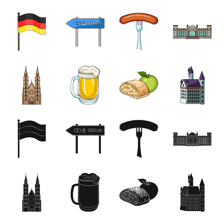 Country Germany black,cartoon icons in set collection for design. Germany and landmark vector symbol stock web illustration. Illustration