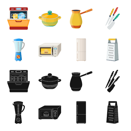 Kitchen equipment black,cartoon icons in set collection for design. Kitchen and accessories vector symbol stock web illustration.  イラスト・ベクター素材