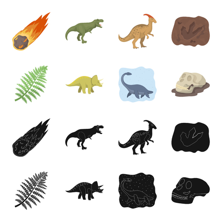 Sea dinosaur,triceratops, prehistoric plant, human skull. Dinosaur and prehistoric period set collection icons in black,cartoon style vector symbol stock illustration web.