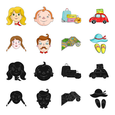 Travel, vacation, camping, map .Family holiday set collection icons in black,cartoon style vector symbol stock illustration web. 向量圖像