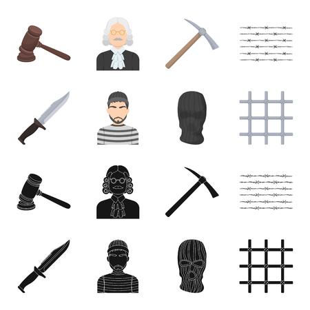 Knife, prisoner, mask on face, steel grille. Prison set collection icons in black,cartoon style vector symbol stock illustration web.