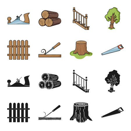 Fence, chisel, stump, hacksaw for wood. Lumber and timber set collection icons in black,cartoon style vector symbol stock illustration web.