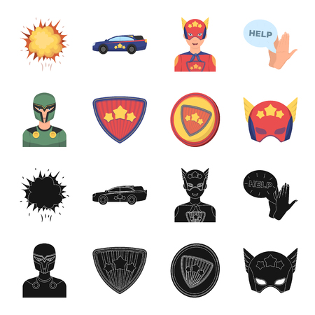 Man, mask, cloak, and other web icon in black,cartoon style.Costume, superman, superforce, icons in set collection. Illustration