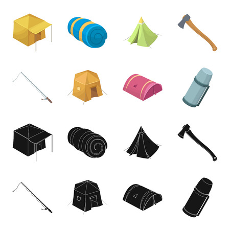 Spinning for fishing, tent, thermos.Tent set collection icons in black,cartoon style vector symbol stock illustration web.