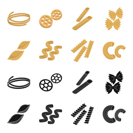 Different types of pasta. Types of pasta set collection icons in black,cartoon style vector symbol stock illustration web.