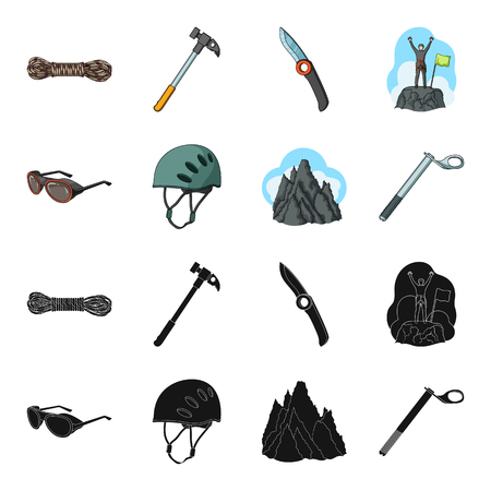 Helmet, goggles, wedge safety, peaks in the clouds.Mountaineering set collection icons in black,cartoon style vector symbol stock illustration web.