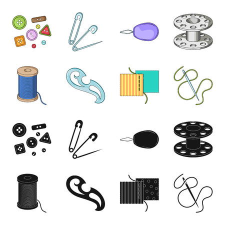 A spool with threads, a needle, a curl, a seam on the fabric.Sewing or tailoring tools set collection icons in black,cartoon style vector symbol stock illustration web. Иллюстрация