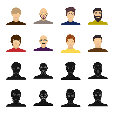 The appearance of the young guy, the face of a bald man with a mustache in his glasses. Face and appearance set collection icons in black,cartoon style vector symbol stock illustration web.