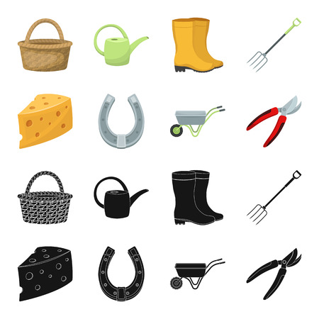 Cheese with holes, a trolley for agricultural work, a horseshoe made of metal, a pruner for cutting trees, shrubs. Farm and gardening set collection icons in black,cartoon style vector symbol stock illustration web.
