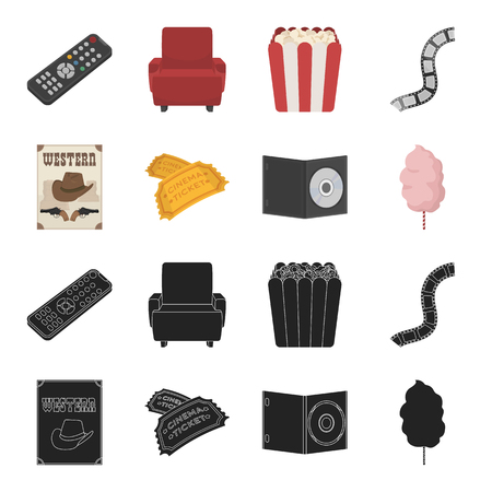 Western cinema, tickets, sweet cotton wool, film on DVD.Filmy and cinema set collection icons in black,cartoon style vector symbol stock illustration web. Stock Illustratie