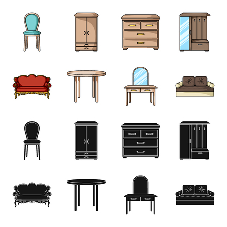 Sofa, armchair, table, mirror .Furniture and home interiorset collection icons in black,cartoon style vector symbol stock illustration web. Illustration