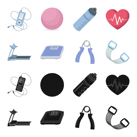 Treadmill, scales, expander and other equipment for training.Gym and workout set collection icons in black,cartoon style vector symbol stock illustration web.