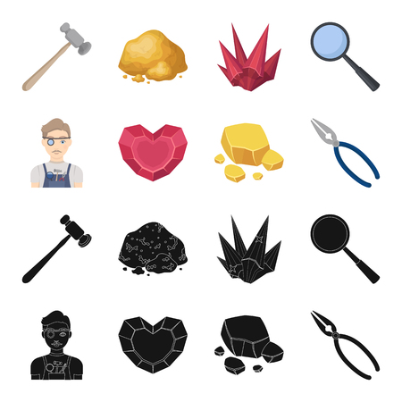 Jeweler, pliers, gold ore, garnet in the form of heart. Precious minerals and jeweler set collection icons in black,cartoon style vector symbol stock illustration web. Illustration