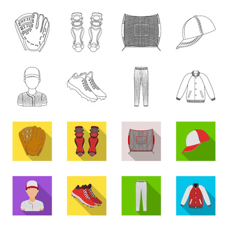 Baseball cap, player and other accessories. Baseball set collection icons in outline,flat style vector symbol stock illustration web. Illustration
