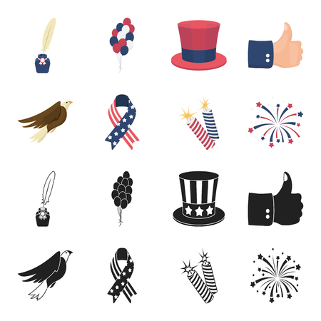American eagle, ribbon, salute. The patriot day set collection icons in black,cartoon style vector symbol stock illustration web. Vettoriali