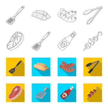 Raw meat steak, grill with handle, bottle of ketchup, shish kebab.BBQ set collection icons in outline,flat style vector symbol stock illustration web.