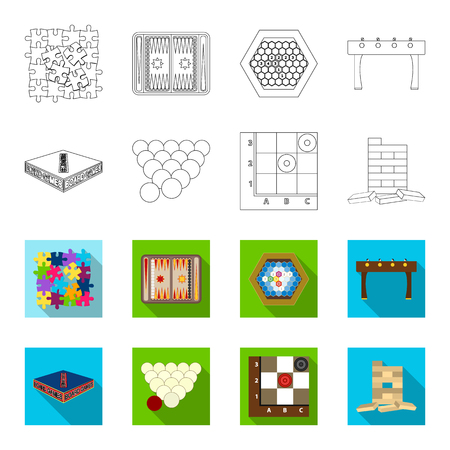 Board game outline,flat icons in set collection for design. Game and entertainment vector symbol stock web illustration. Illustration