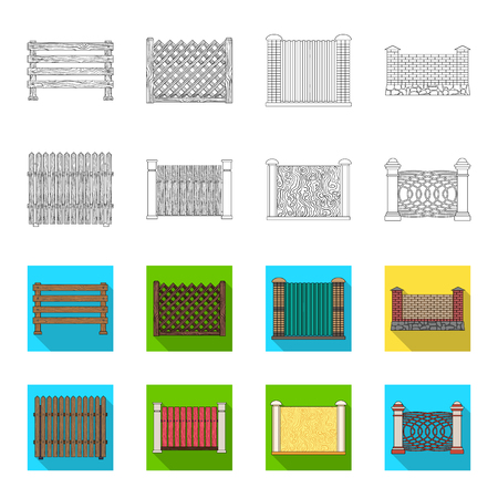 A fence of metal and bricks,wooden palisade. A different fence set collection icons in outline,flat style vector symbol stock illustration web.