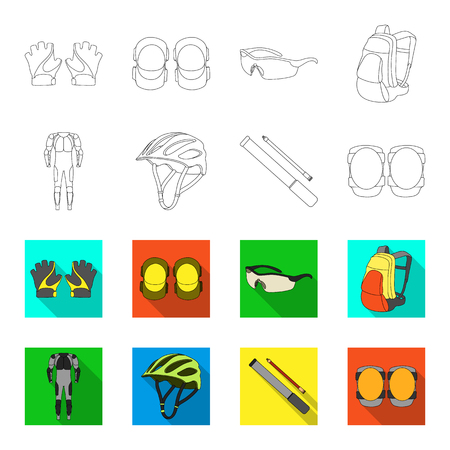Full-body suit for the rider, helmet, pump with a hose, knee protectors.Cyclist outfit set collection icons in outline,flat style vector symbol stock illustration web.