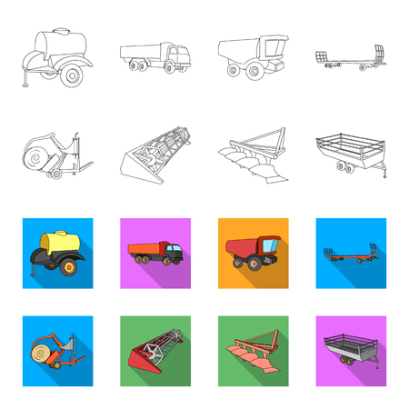 Plow, combine thresher, trailer and other agricultural devices. Agricultural machinery set collection icons in outline,flat style vector symbol stock illustration web.
