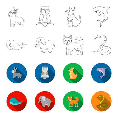 Whale, elephant,snake, fox.Animal set collection icons in outline,flat style vector symbol stock illustration web. 矢量图像