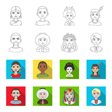 Chino, ucraniano, ruso, esquimal. La raza humana establece los iconos de la colección en la web de contorno estilo vector símbolo stock de ilustración. Ilustración de vector