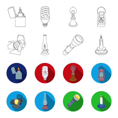 Searchlight, kerosene lamp, candle, flashlight.Light source set collection icons in outline,flat style vector symbol stock illustration web.