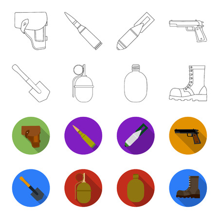 Sapper blade, hand grenade, army flask, soldier boot. Military and army set collection icons in outline,flat style vector symbol stock illustration web.