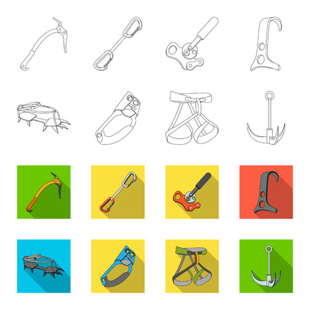 Hook, mountaineer harness, insurance and other equipment.Mountaineering set collection icons in outline,flat style vector symbol stock illustration web.
