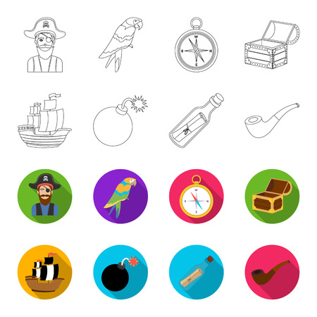 Pirate, bandit, ship, sail .Pirates set collection icons in outline,flat style vector symbol stock illustration web.