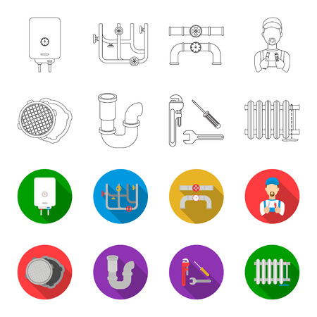 Sewage hatch, tool, radiator.Plumbing set collection icons in outline,flat style vector symbol stock illustration web.