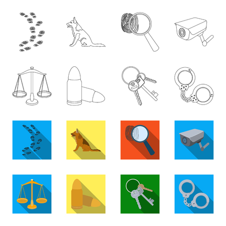 Scales of justice, cartridges, a bunch of keys, handcuffs.Prison set collection icons in outline,flat style vector symbol stock illustration web.