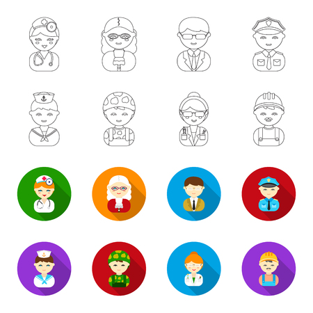 Sailor, soldier, scientist, builder.Profession set collection icons in outline,flat style vector symbol stock illustration web. Çizim