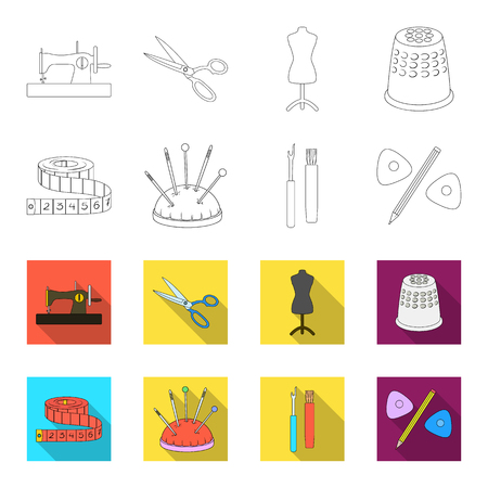 Measuring tape, needles, crayons and pencil.Sewing or tailoring tools set collection icons in outline,flat style vector symbol stock illustration web. Ilustração