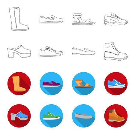 Flip-flops, clogs on a high platform and heel, green sneakers with laces, female gray ballet flats, red shoes on the tractor sole. Shoes set collection icons in outline,flat style vector symbol stock illustration web. Illustration