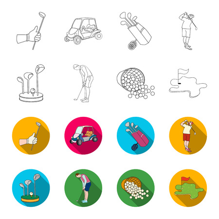 Stand for a golf club, muzhchin playing with a club, basket with balls, label with a flag on the golf course. Golf Club set collection icons in outline,flat style vector symbol stock illustration web. Illustration