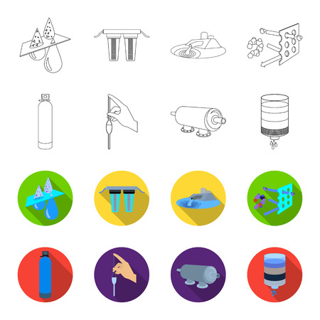 Purification, water, filter, filtration .Water filtration system set collection icons in outline,flat style vector symbol stock illustration web. Illustration
