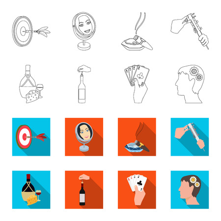 Bottle, a glass of wine and cheese, clogging with a corkscrew and other web icon in outline,flat style. A combination of cards in hand, a person head and an idea generator icons in set collection. Ilustração